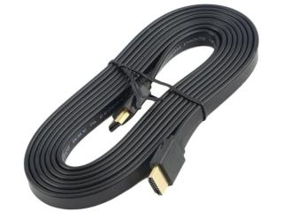 HDMI 1.4 Flachband Kabel 3 Meter - 3D / 2160p vergoldet - schwarz