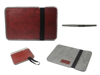 "Filz Leder MacBook Sleeve 11"" Slim Hülle Notebook Tasche - Braun"