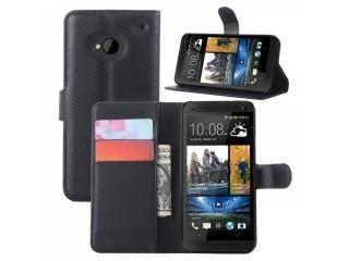HTC One M7 Ledertasche Portemonnaie Karten Schutzhülle - schwarz