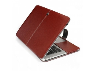 "MacBook Air 13"" Lederhülle Aufklappbare Slim Tasche Cover in Braun"