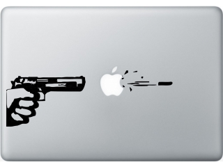 "MacBook 13"" Sticker Aufkleber - Gun Art Pistole Apple Logo"