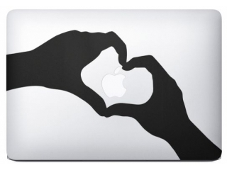 "MacBook 13"" Sticker Aufkleber - Love Apple Hands Heart Hände Herz"
