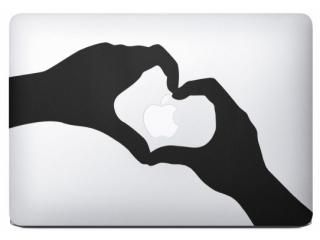 """MacBook 13"""" Sticker Aufkleber - Love Apple Hands Heart Hände Herz"""