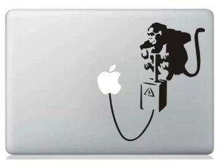 "MacBook 13"" Sticker Aufkleber - Monkey Exploding Apple Logo Banksy Art"