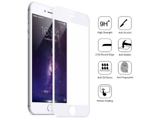 iPhone 7/6S/6 iVisor HD Panzerglas Real Glass mit Rahmen Frame weiss