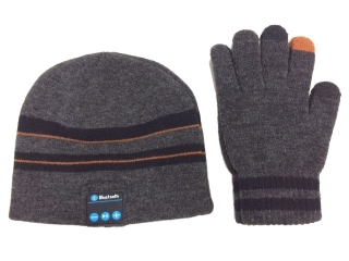 Bluetooth Audio Sound Mütze mit Touchscreen Handschuhe Grau/Schwarz