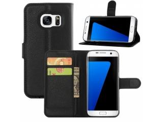 Samsung Galaxy S7 Edge Ledertasche Portemonnaie Karten Hülle schwarz