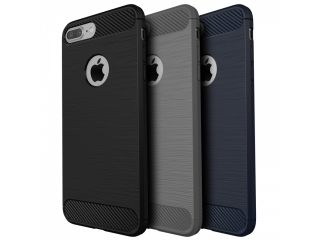 iPhone 7 Gummi Hülle Thin Softcase mit Carbon Look - Schwarz