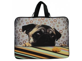 "Neoprene MacBook Sleeve 13"" Slim Soft Hülle Tasche - Mops Dog Design"