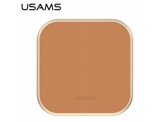 USAMS Wireless Qi Charging Pad in elegantem, stilvollen Leder braun