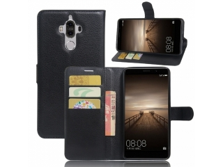 Huawei Mate 9 Ledertasche Flipcase Portemonnaie & Karten Hülle schwarz