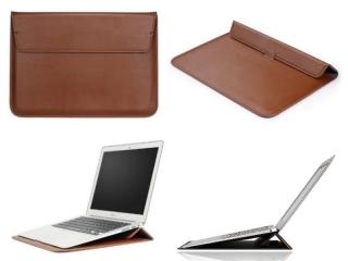 """Macbook 12"""" & Air 11"""" Leder Sleeve Tasche mit Ständer Erhöhung braun"""