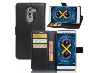 Huawei Honor 6X Ledertasche Flipcase Portemonnaie Karten Hülle schwarz
