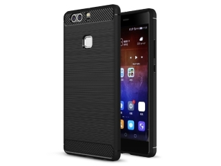 Huawei P9 Plus Gummi Hülle Thin Softcase mit Carbon Look - Schwarz
