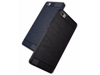 Huawei P8 Lite Gummi Hülle Thin Softcase mit Carbon Look - Schwarz