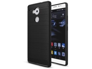 Huawei Mate 8 Gummi Hülle Thin Softcase mit Carbon Look - Schwarz
