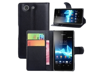 Ledertasche Sony Xperia Z3 Compact Portemonnaie Karten Hülle schwarz