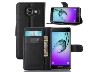 Ledertasche Samsung Galaxy A3 (2017) Portemonnaie Karten Hülle schwarz