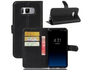 Ledertasche zu Samsung Galaxy S8+ Portemonnaie Karten Hülle schwarz
