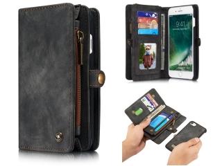 CaseMe iPhone 7/8 Echtleder Portemonnaie Tasche Karten Case schwarz