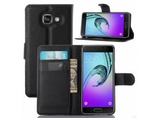 Ledertasche Samsung Galaxy A3 (2016) Portemonnaie Karten Hülle schwarz
