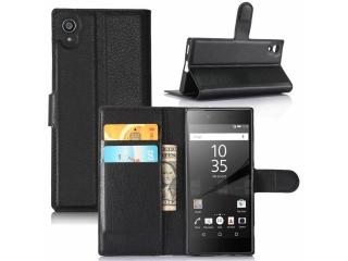 Ledertasche Sony Xperia XA1 Portemonnaie Karten Schutzhülle schwarz