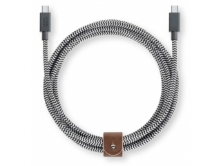Native Union Belt Cable Kevlar & Leder USB-C zu USB-C Kabel 2.4m zebra
