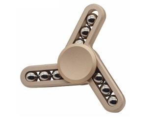 Fidget Spinner mit Stahlperlen - Tri-Spinner zum Relaxen in gold