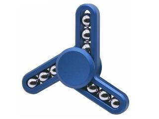 Fidget Spinner mit Stahlperlen - Tri-Spinner zum Relaxen in blau