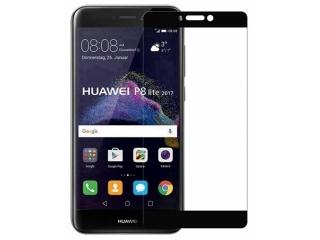 Huawei P8 Lite (2017) 100% Vollbild Panzerglas Schutzfolie schwarz