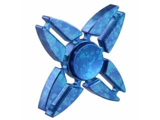 Premium Fidget Spinner Aluminium oxidiert mit Splash Effekt - blau