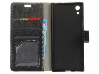 Huawei P8 Lite 2017 Ledertasche Portemonnaie Karten Case Hülle schwarz