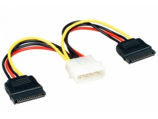 4-Pin IDE Molex auf 2x 15-Pin SATA Power Kabel Adapter für PC SATA HD