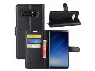 Ledertasche Samsung Note 8 Portemonnaie Karten Schutzhülle schwarz