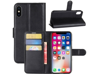 Ledertasche iPhone X/Xs Portemonnaie Hülle Case Karten Etui schwarz