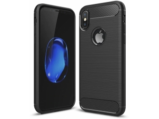 iPhone X Carbon Gummi Hülle TPU Case Cover flexibel in schwarz