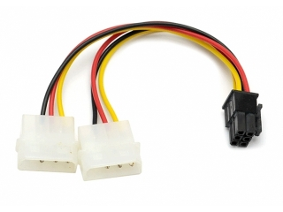 6-Pin Grafikkarten Stecker auf 2x 4-Pin Molex Power Kabel Adapter