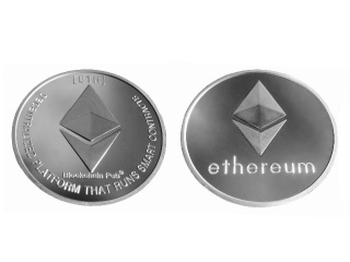 Ethereum Münze Silber - versilberte Ether ETH Symbol Münze ohne Wert