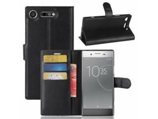 Ledertasche Sony Xperia XZ1 Compact Portemonnaie Karten Hülle schwarz