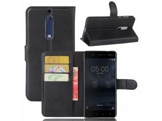 Ledertasche Nokia 6 Portemonnaie Karten Etui Schutzhülle schwarz
