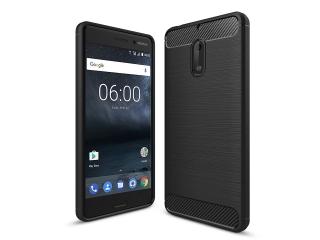 Nokia 6 Carbon Gummi Hülle TPU Case Cover flexibel schwarz