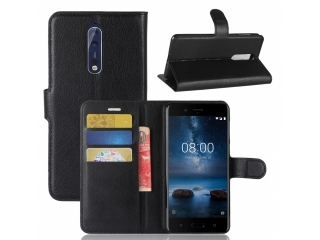 Ledertasche Nokia 8 Portemonnaie Karten Etui Schutzhülle schwarz
