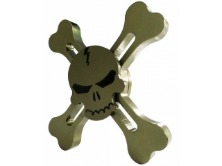 Fidget Spinner Skull and Bones Totenkopf Spinner - gold dunkel