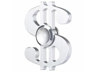 Dollar Sign Premium Fidget Spinner aus Aluminium - silber