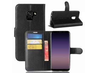 Ledertasche Samsung Galaxy A8 (2018) Portemonnaie Karten Hülle schwarz