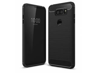LG V30 Carbon Gummi Hülle TPU Case Cover flexibel schwarz