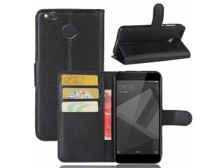 Ledertasche für Xiaomi Redmi 4X Portemonnaie & Karten Hülle schwarz