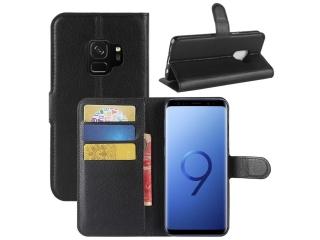 Ledertasche für Samsung Galaxy S9 Portemonnaie Karten Hülle schwarz