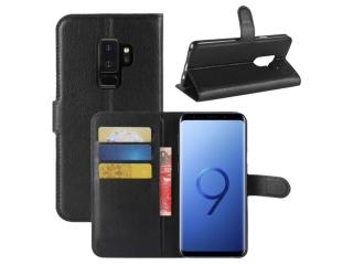 Ledertasche zu Samsung Galaxy S9+ Portemonnaie Karten Hülle schwarz