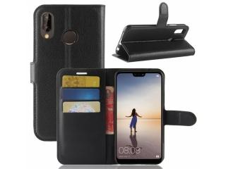 Huawei P20 Ledertasche Portemonnaie Karten Etui Schutzhülle schwarz